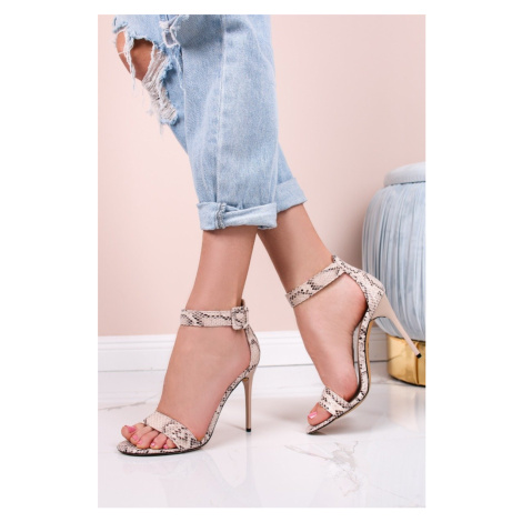 Béžové sandály s hadím vzorem na tenkém podpatku Hoosh