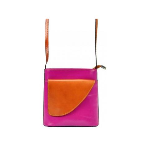 Gregorio Kožená malá dámská crossbody kabelka růžová-hnědá Růžová