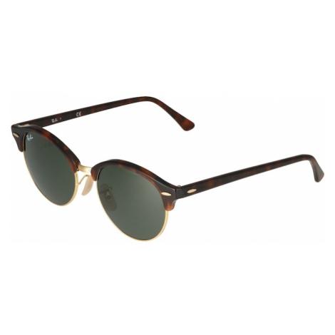 Ray-Ban Sluneční brýle 'Clubround' hnědá / tmavě hnědá / zelený melír