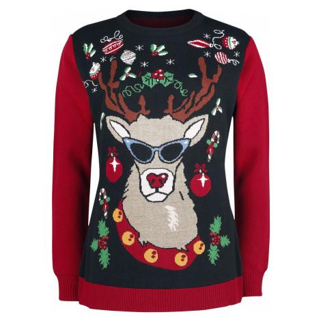 Ugly Christmas Sweater Reindeer With Sunglasses Pletený svetr vícebarevný