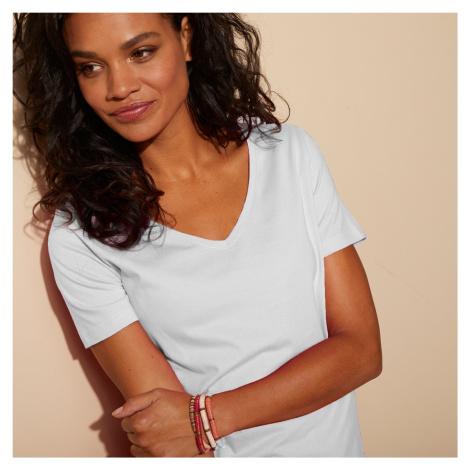 """Blancheporte Jednobarevné tričko s výstřihem do """"V"""" bílá"""