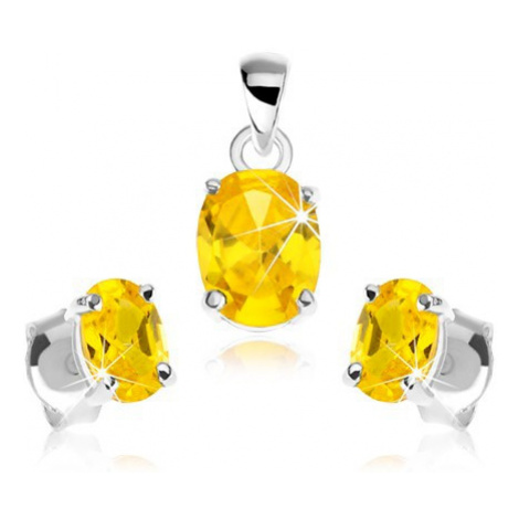 Sada ze stříbra 925, přívěsek, náušnice, zirkonový ovál žluté barvy Šperky eshop