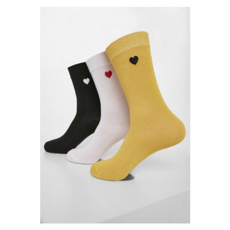 Urban Classics Heart Socks 3-Pack black/white/yellow