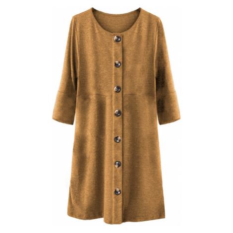 Dámské šaty v hořčicové barvě s knoflíky a nadýchanými rukávy (233ART) Made in Italy