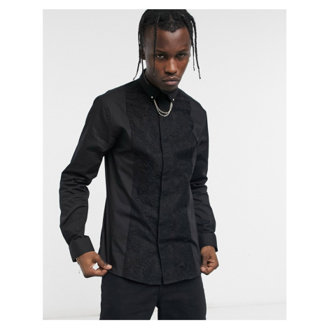 Twisted Tailor tuxedo shirt in black with collar chain