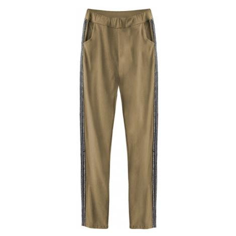Bavlněné kalhoty v karamelové barvě s lampasy (193ART) Made in Italy