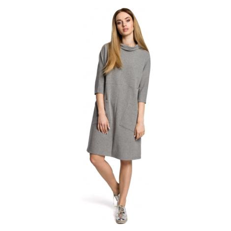Oversize tunikové šaty s vysokým límcem a velkými kapsami Moe