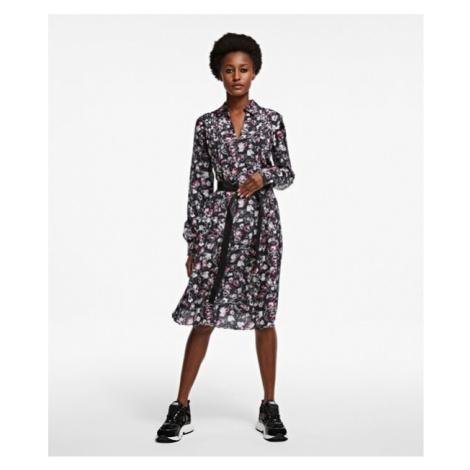 Šaty Karl Lagerfeld Silk Orchid Print Dress - Různobarevná