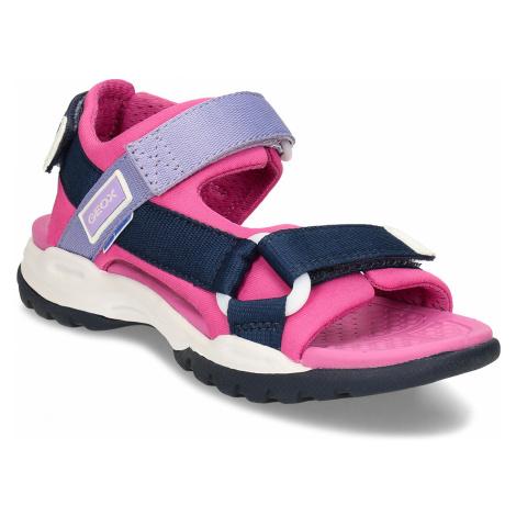Růžové dětské sandály na suchý zip Geox