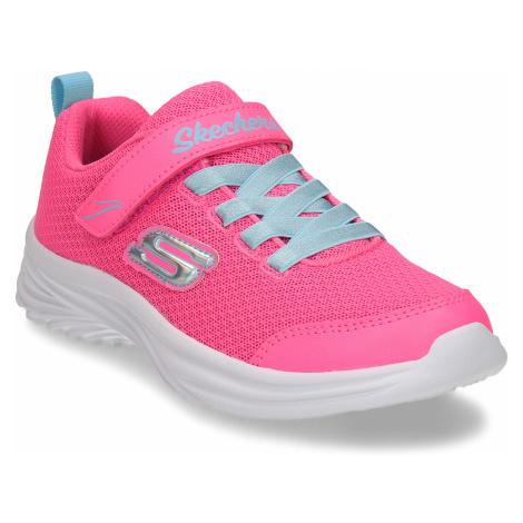 Růžové dětské tenisky s modrými prvky Skechers