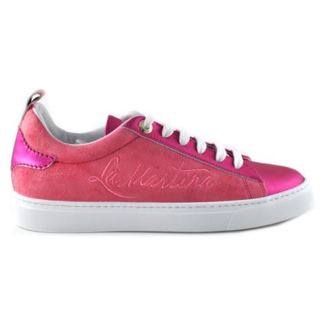 Tenisky La Martina Woman Shoes Satin Suede - Růžová