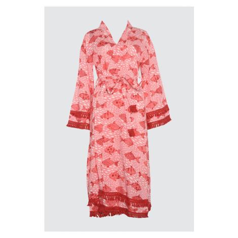 Trendyol Pink Fish Printed Vual Kimono&Kaftan