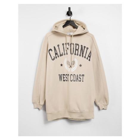 Bershka varsity oversized hoodie in beige