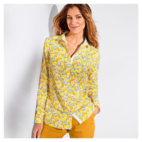 Blancheporte Košile s potiskem citrónů a dlouhým rukávem citronová