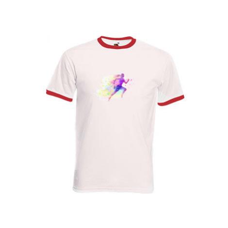 Pánské tričko s kontrastními lemy Abstraktní běžec