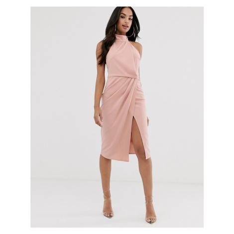 ASOS DESIGN halter drape pencil midi dress-Pink