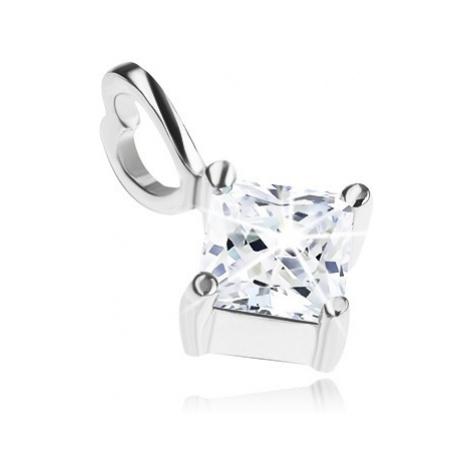 Stříbrný přívěsek 925, čirý zirkonový kosočtverec, očko na řetízek - srdce Šperky eshop