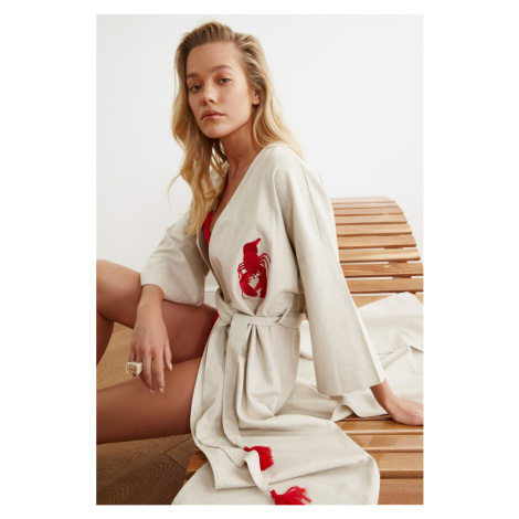 Trendyol Red Lobster Embroidered Linen Kimono&Kaftan