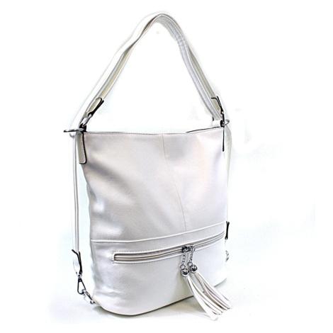 Bílá dámská kombinace crossbody kabelky a batohu Sestie Mahel