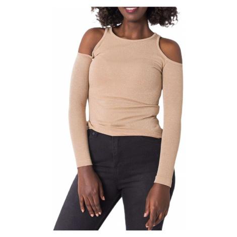 Béžové dámské třpytivé tričko s průstřihy Rue Paris