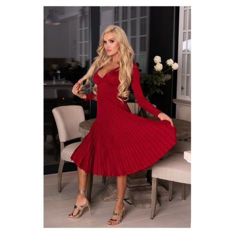 Pletené šaty s obálkovým sexy výstřihem a žebrovanou sukní Merribel