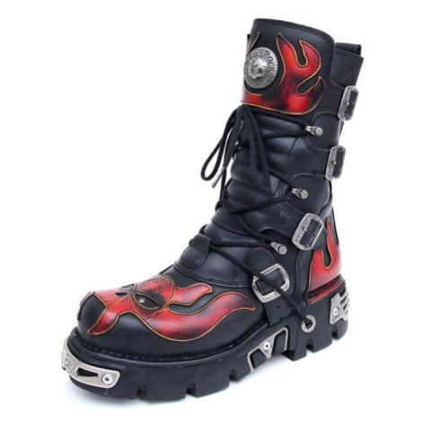 NEW ROCK Vampire Boots (107-S1) Black-Orange Černá Oranžová