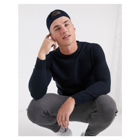 Brave Soul classic crew neck jumper in navy
