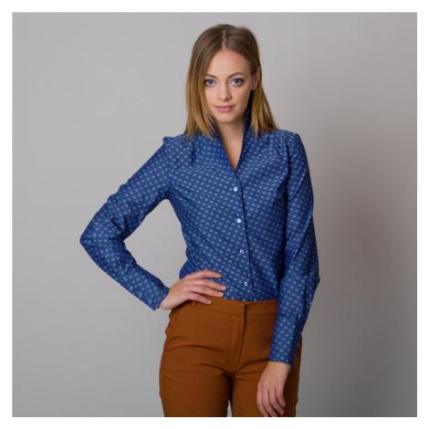 Dámská košile tmavě modrá s vysokým límečkem a vzorem hvězdiček11708 Willsoor