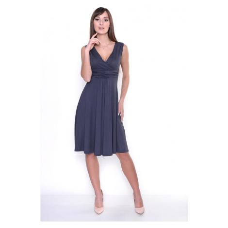 Delší vycházkové šaty bez rukávů barva grafitová Oxyd