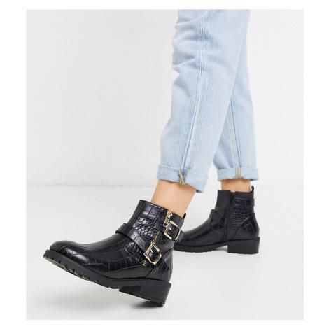 New Look wide fit croc flat PU biker boots in black