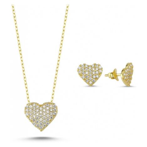 OLIVIE Sada stříbrných šperků ZLATÉ SRDCE 2352