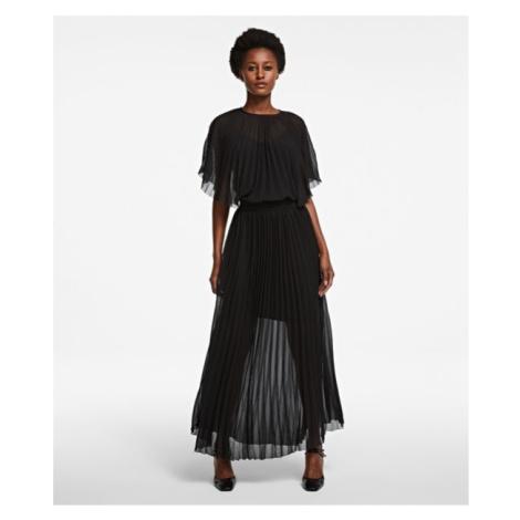 Šaty Karl Lagerfeld Pleated Maxi Dress - Černá