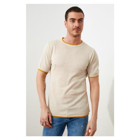 Trendyol Beige Men's Bike Collar Knitwear T-Shirt