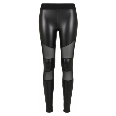 Ladies Tech Mesh Faux Leather Leggings Urban Classics