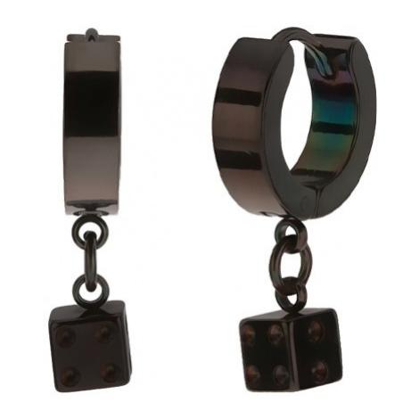 Kloubové ocelové náušnice, černá barva, lesklý povrch, hrací kostka Šperky eshop