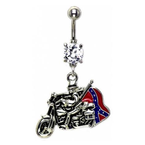 Piercing do pupíku jezdec s vlajkou a zirkonem Šperky eshop