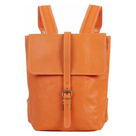 Bagind Hezkey Mars - Dámský i pánský kožený batoh oranžový, ruční výroba, český design