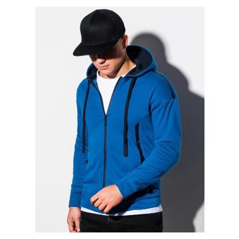 Ombre Clothing Moderní modrá mikina na zip B1076