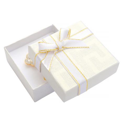 JKBOX Bílá papírová krabička s mašlí se zlatým okrajem na malou sadu IK007