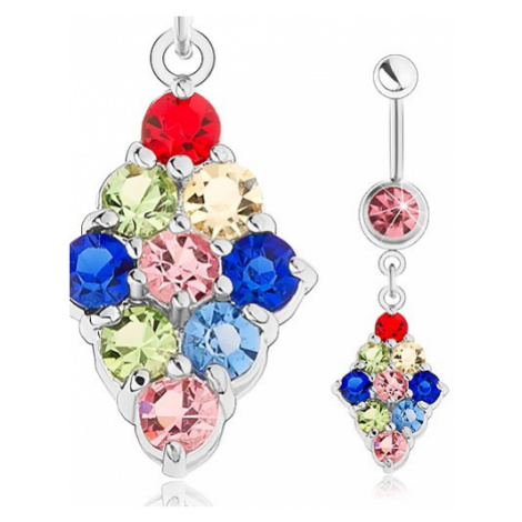 Piercing do pupíku, chirurgická ocel, kosočtverec vykládaný barevnými zirkony Šperky eshop