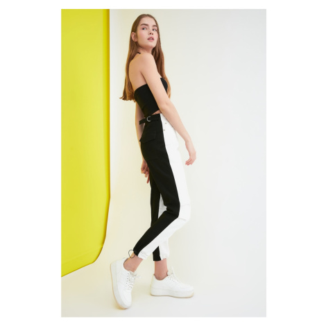 Trendyol Black and White Color Block High Waist Mom Jeans