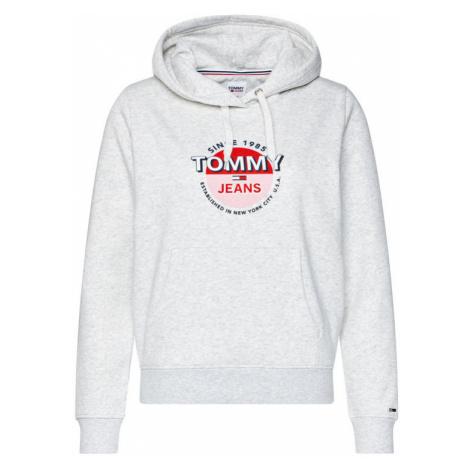 Tommy Hilfiger Tommy Jeans dámská šedá mikina ESSENTIAL 1985 LOGO SLIM FIT HOODY