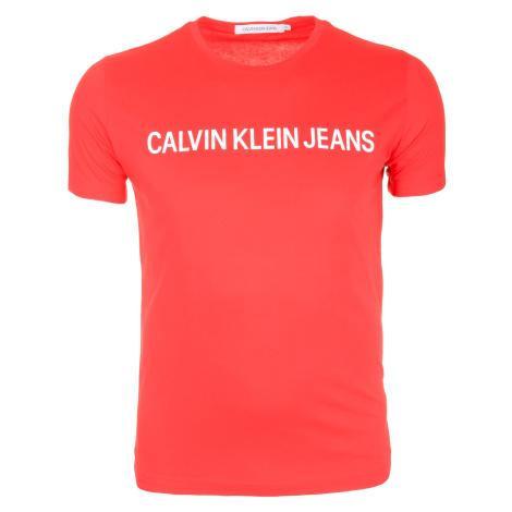 Pánské červené tričko s nápisem Calvin Klein Jeans