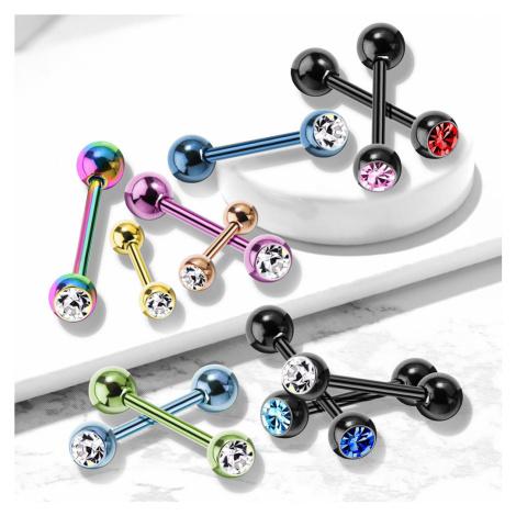 Piercing do rtu a brady z oceli - kulatý zirkon v hladké objímce - Barva piercing: Měděná Šperky eshop