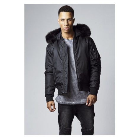 Bunda Urban Classics Hooded Basic Bomber Jacket - black