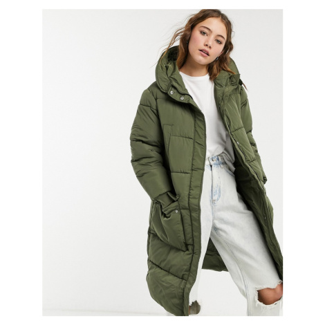 Pieces padded longline coat in khaki-Green