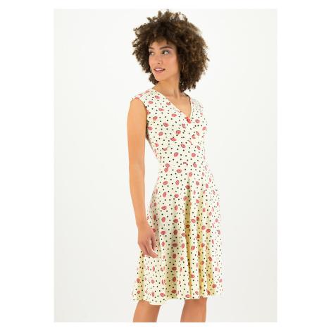 Udržitelné šaty krémové krátký rukáv z organické bavlny Blutsgeschwister Ohlala tralala