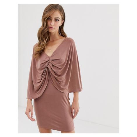 ASOS DESIGN kimono sleeve drape knot back mini dress-Pink