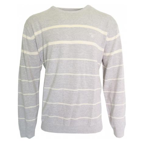 Šedý svetr s bílými pruhy Gant