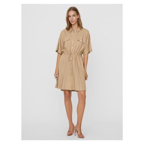 Vero Moda béžové košilové šaty Haf